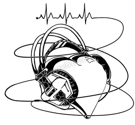 heartbeat headphones tattoo half sleeve idea softer headphones though more