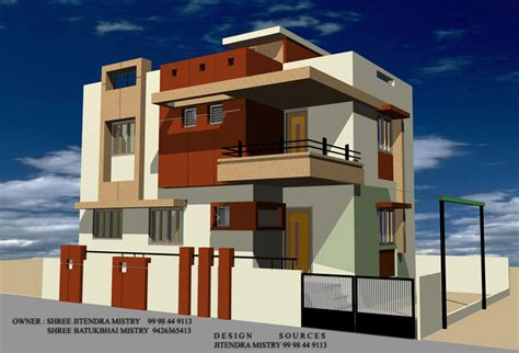 expert design builders 3d front modern elevation gharexpert