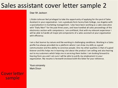 Electronics Sales Associate Cover Letter by Sales Assistant Cover Letter