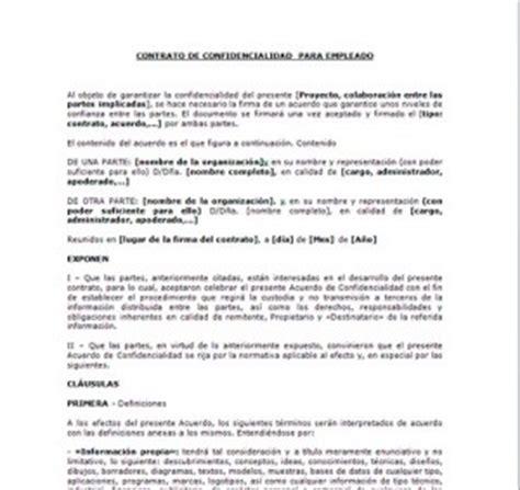 formato de carta de responsabilidad y confidencialidad modelo contrato de confidencialidad para empleados