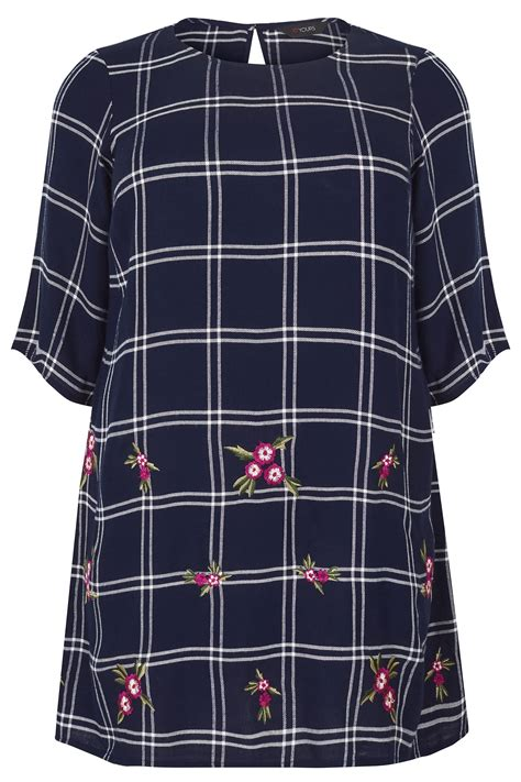 Text Decoration Italic by Navy Ecru Check Tunic With Embroidery Plus Size 16 To 36