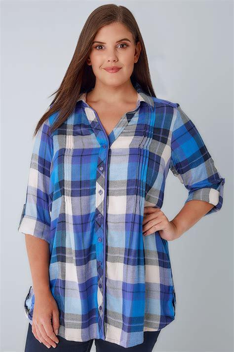 Metallic Detail Shirt Blue blue purple checked pleat detail shirt with metallic