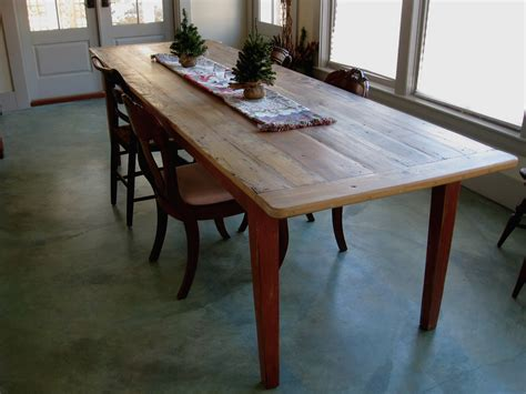Long Rustic Dining Table With Painted Base   Lake and