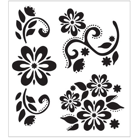 Nature Flowers Stencils Craft Art Supplies The Home Depot Stencil Templates For Painting