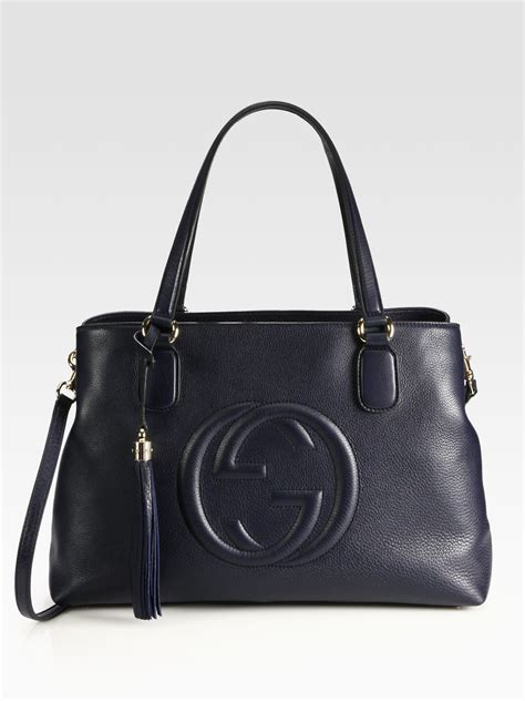 Gucci Ns Leather Blue lyst gucci soho leather working tote in blue