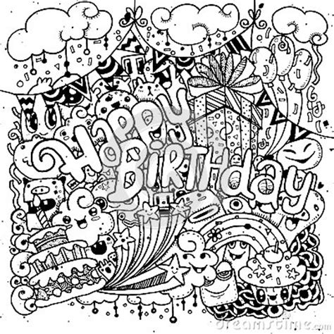 happy doodle happy birthday sketch set with doodle stock