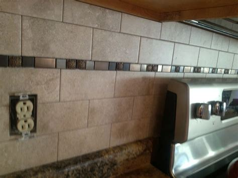 white subway tile with glass accent backsplash our house kitchen backsplash just a little wider space with the