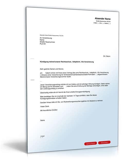 Brief Schreiben Muster Versicherung versicherung k 252 ndigen vorlage allianz k 252 ndigung vorlage fwptc