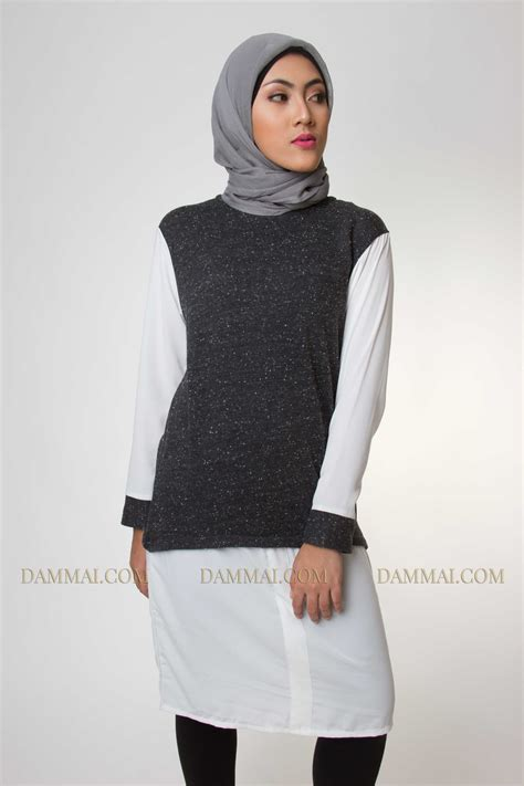 Tunik Ratoe Modern grey white muslim fashion tunik dammai