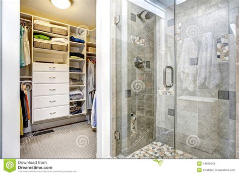 closet in bathroom modern bathroom interior with walk in closet stock photo image of bathroom home