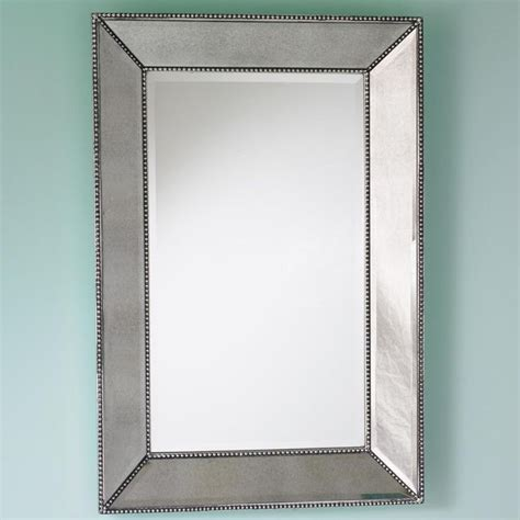 Frame Bathroom Wall Mirror Beaded Frame Mirror This Generous Scaled Beveled Mirror Features Antiqued Silver With