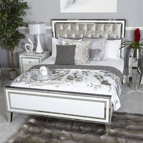 Glass Headboard by Merrick White Glass Mirrored Diamante King Bedframe Headboard Cimc Manhattan Bed 163 1 369