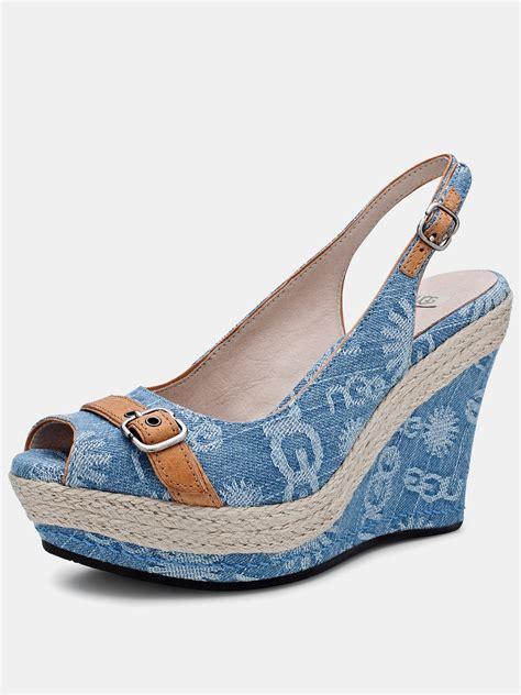 ugg ugg australia noella wedge shoes in blue light blue