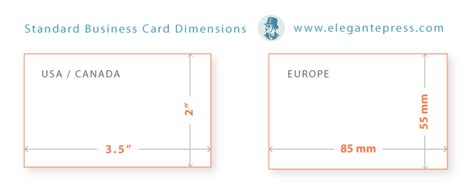 Business Card Standard Size In Inches