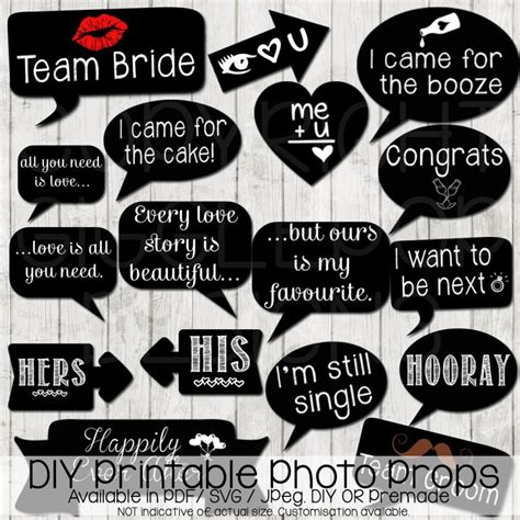 printable photo booth props engagement wedding photo booth props diy printable instant download