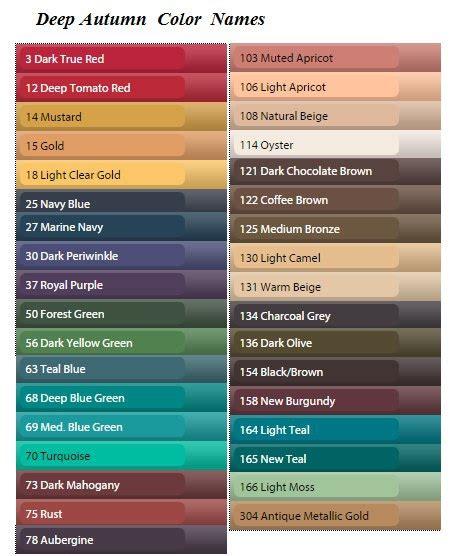 pretty color names названия цветов в палитрах красота вдохновленная природой