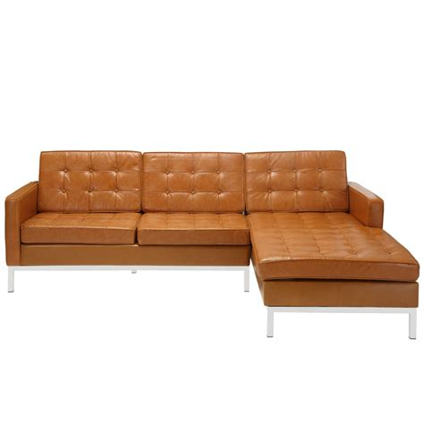 Bateman Leather Right Arm Sectional Sofa Modern Sofas Sectional