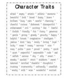 character traits activities on pinterest teaching