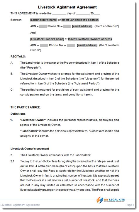 agistment agreement template agistment agreement contract livestock animals