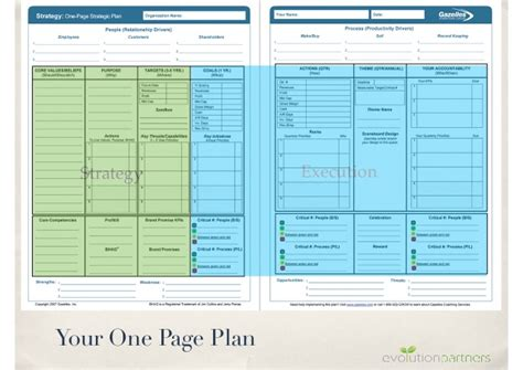 one page strategic plan template plan template