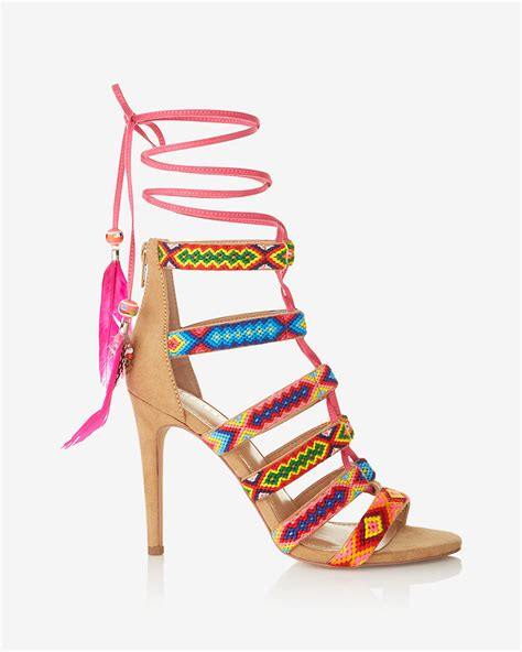 express sandals geometric strappy lace up heeled sandals express