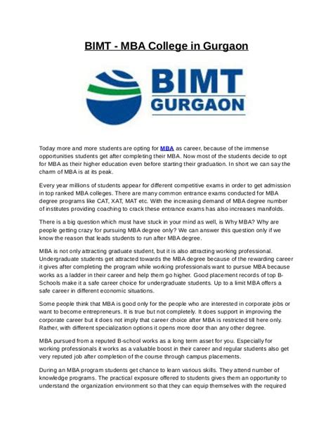 Current Openings In Gurgaon For Mba by Bimt Mba College In Gurgaon