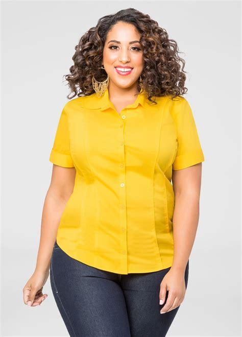 Sleeve Button Front Shirt sleeve button front shirt plus size shirts