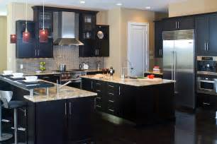 Coffee Color Kitchen Cabinets A Contemporary Kitchen Featuring Cherry Cabinets With A Coffee Color Finish Kitchen