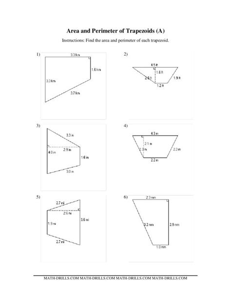 free printable area of trapezoid worksheets worksheets trapezoid area worksheet opossumsoft