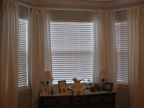 blinds or drapes blinds or curtains for bay window home design ideas