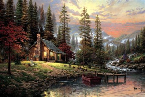 1449482910 thomas kinkade peaceful retreat with thomas kinkade a peaceful retreat painting framed