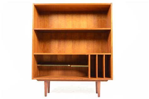 mid century modern bookshelves mid century modern teak bookcase with media storage