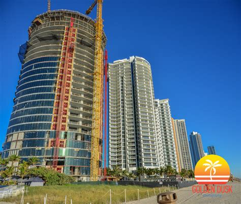 porsche design tower construction porsche design tower now at the 27th floor golden dusk
