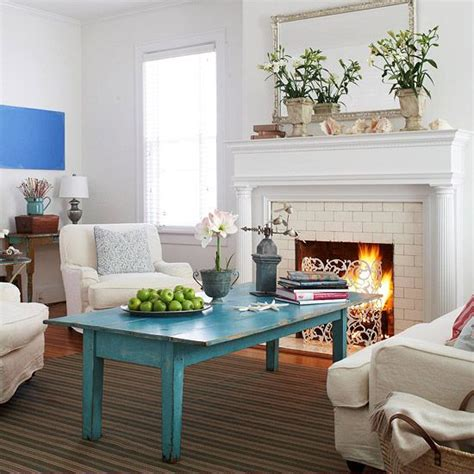 add color to your living room turquoise fireplaces and painted bricks