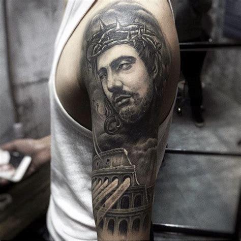 jesus tattoo half sleeve 100 jesus tattoos for men cool savior ink design ideas