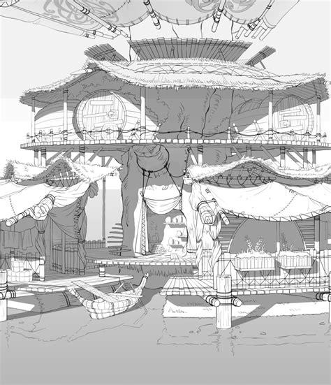 houseboat sketch artstation houseboat in wetland lee cheolju 场景线稿
