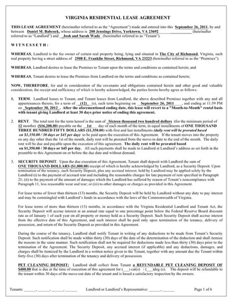 Download Virginia Residential Lease Agreement Form For Free Page 2 Formtemplate Virginia Lease Template
