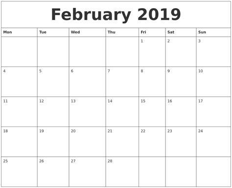february printable calendar word february