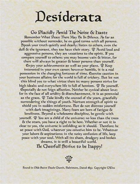 printable version desiderata desiderata poem 11 x 14 poster on fine parchment paper