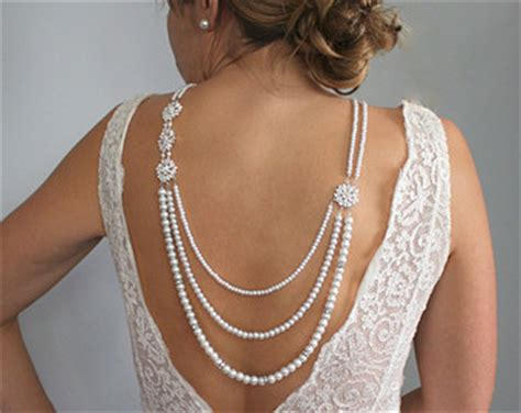 Back drop necklace backdrop necklace pearl necklace bridal jewelry low