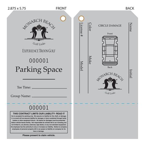 valet ticket template custom printed valet ticket parking tags st louis tag