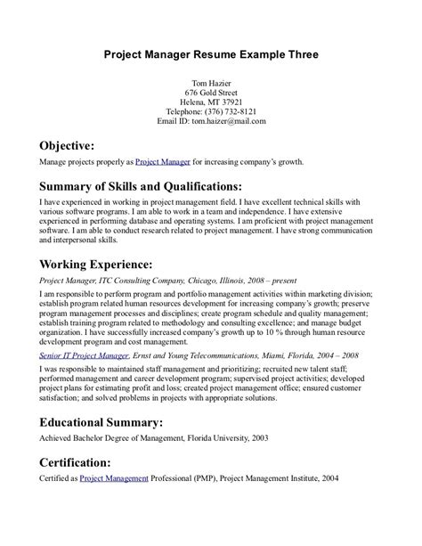 objective with summary of skills project manager resume