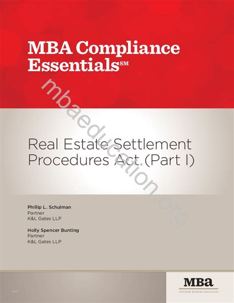 Mba Essentials by Mba Compliance Essentials Respa I Resource Guide