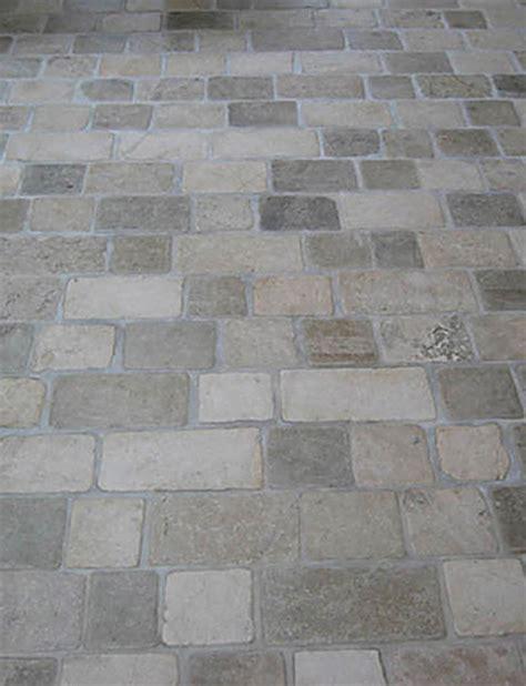 mudroom floor limestone tumbled cobblestone pavers