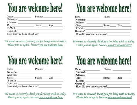 church bulletin templates with tear out visitor card church welcome visitor card template just b cause