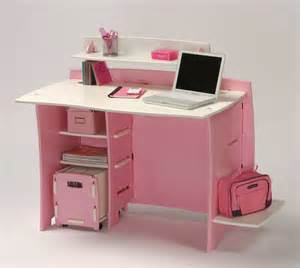 Small Pink Computer Desk Under Desk Shelf And Office Appearance