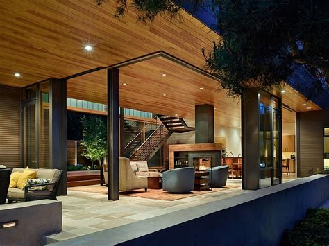 Grey Living Room With Fireplace Amazing Project Courtyard House Deforest Architects Living