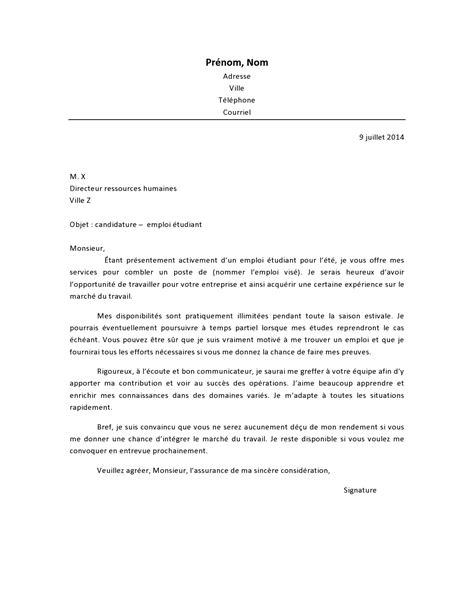 Lettre De Motivation Visa D Etude lettre de motivation emploi 233 tudiant lettre de motivation