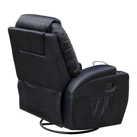 rocker recliner massage chair cinemo black leather recliner chair rocking massage swivel
