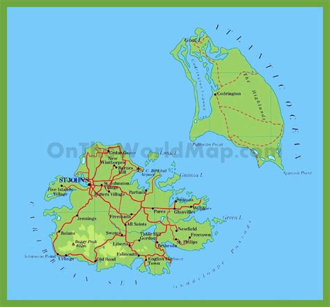 antigua and barbuda map road map of antigua and barbuda